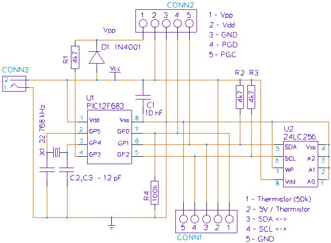 Схема устройства регистрации температуры