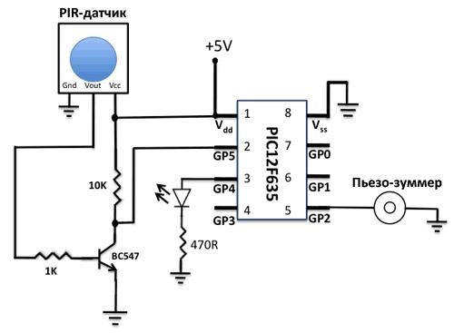 Светодиод, подключенный к