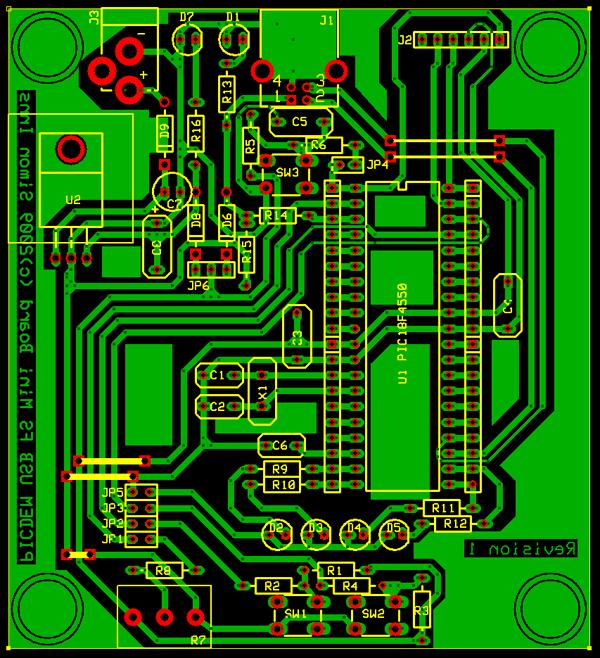 Рисунок печатной платы PIC FS USB