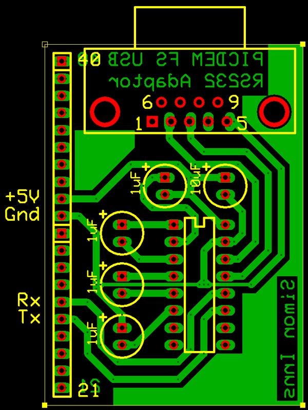 Рисунок печатной платы модуля RS232