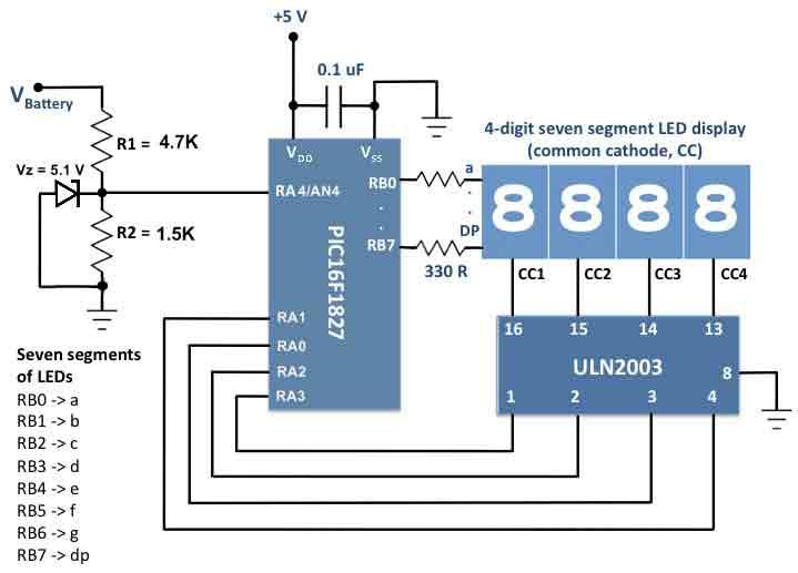 Схема устройства мониторинга напряжения борт. сети автомобиля