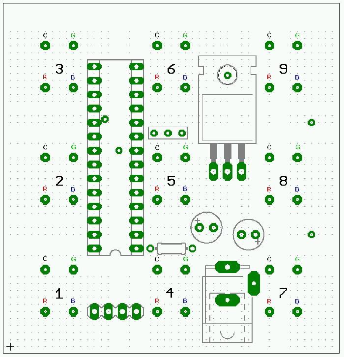 ...с использованием RGB всетодиодов Вы спросите как так ведь куб 3X3X3, а светодиодов на схеме аж три заместо одного...