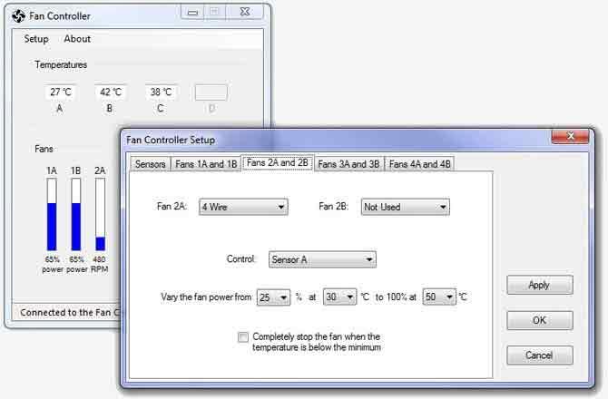 Вид окна управляющей программы для контроллера вентиляторов охлаждения ПК