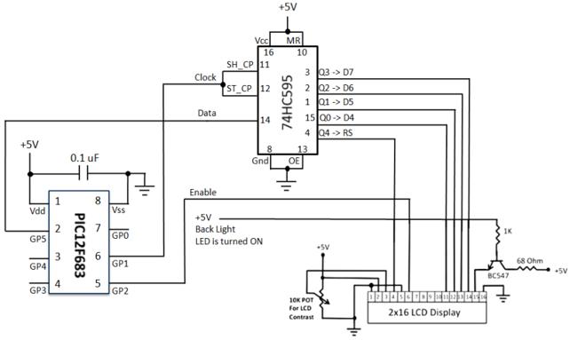 Подключение LCD HD44780 к PIC12F683
