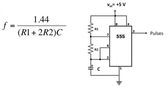Схема включения таймера и формула расчета частоты
