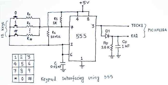 Схема 12-кнопочной клавиатуры на таймере 555