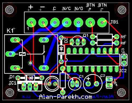 Печатная плата: кодовый замок на PIC16F628A