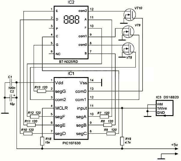 Схема цифрового термометра на
